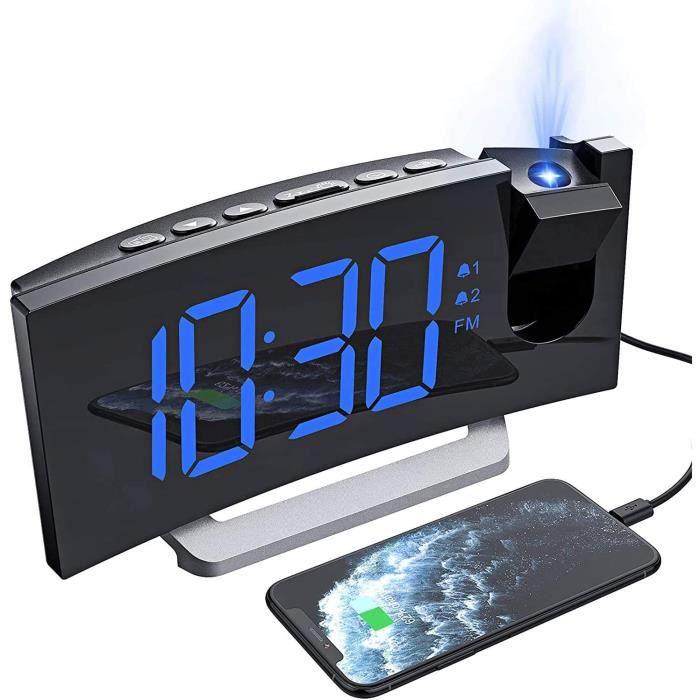 WE Radio Réveil Projection, Radio Reveil Projecteur avec écran Incurvé à LED 5'', Double Alarme et 5 Sons D'Alarme