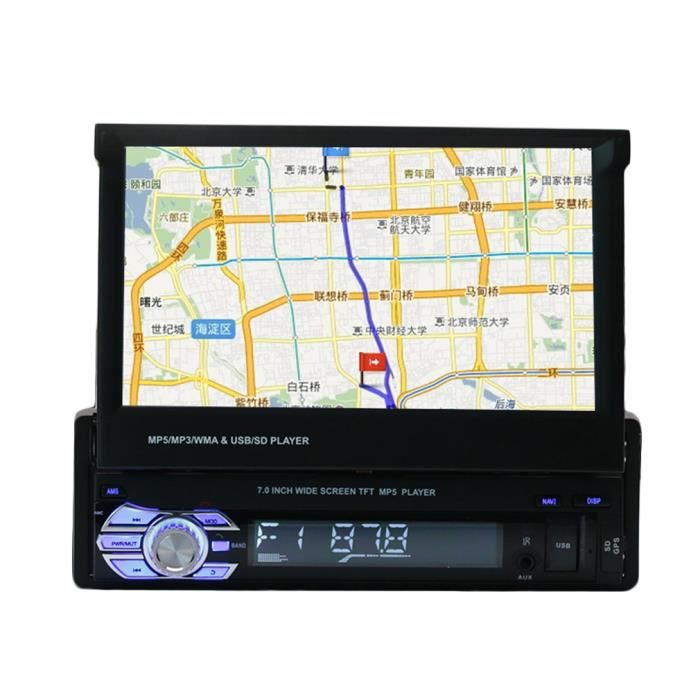 7in cran tactile hd voiture lecteur dvd st r o radio audio gps m moire navigator prix pas. Black Bedroom Furniture Sets. Home Design Ideas