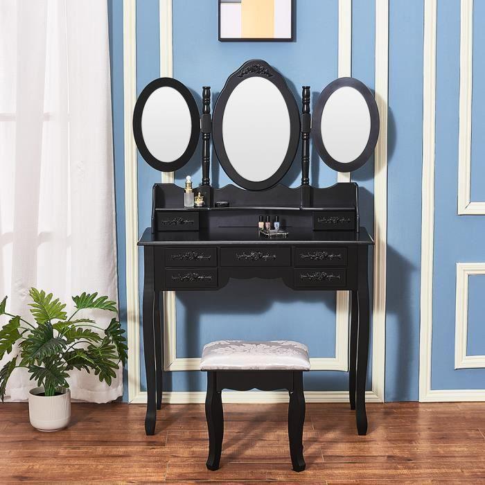90 x 40 x 115 cm Blanc Panana Coiffeuse Meuble en MDF avec Tabouret 1 Miroir 2 Tiroirs et 5 Compatiments pour Chambre
