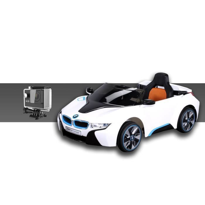 mini voiture lectrique pour enfants bmw i8 2x45 watt blanc cam ra sport achat vente. Black Bedroom Furniture Sets. Home Design Ideas