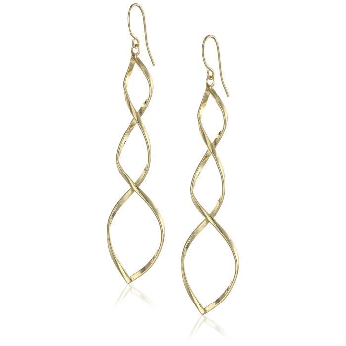 Jewel Panda Plaqué or Spirale Boucles doreilles Twist Drop