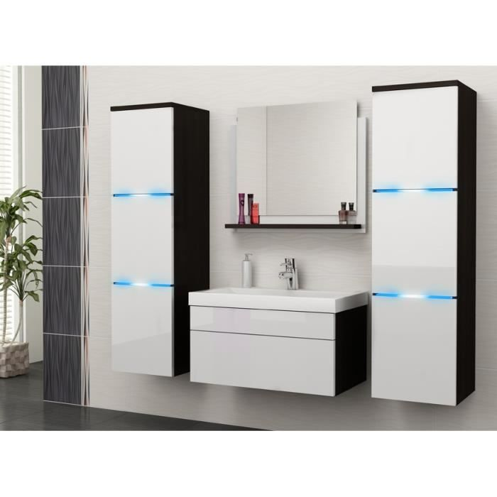 salle de bain compl te luna noir blanc fa ades laqu es. Black Bedroom Furniture Sets. Home Design Ideas