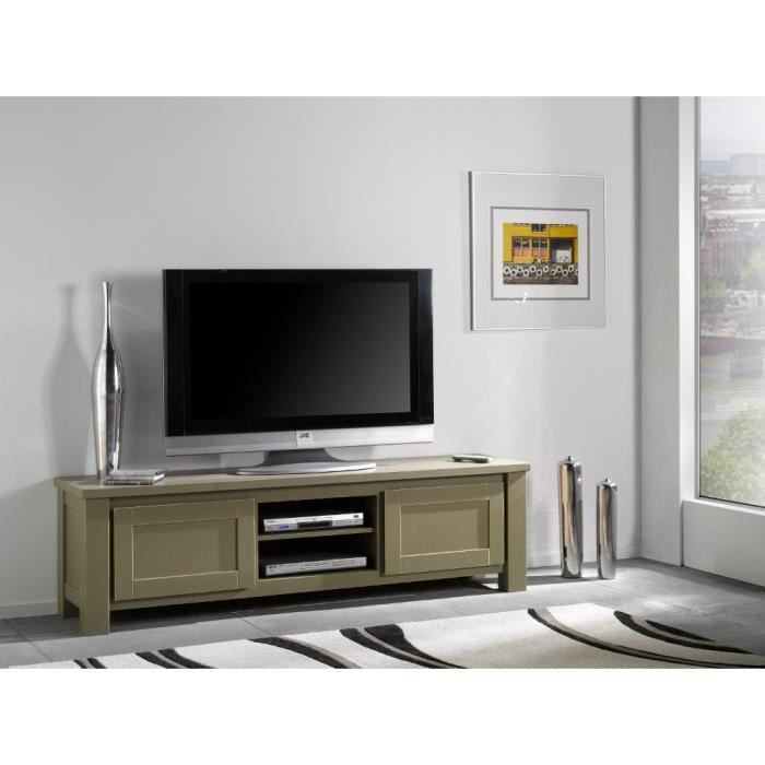 meuble tv wilda en 190 pin massif argent achat. Black Bedroom Furniture Sets. Home Design Ideas