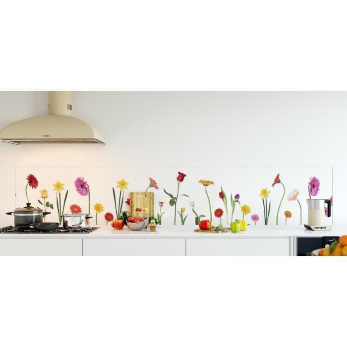 credence de cuisine adhesive en verre de synthese fleurs l 270 x h 50 cm