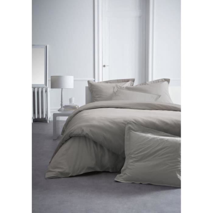 Housse de couette percale 240x260 mastic 2 taies 1 for Housse de couette percale