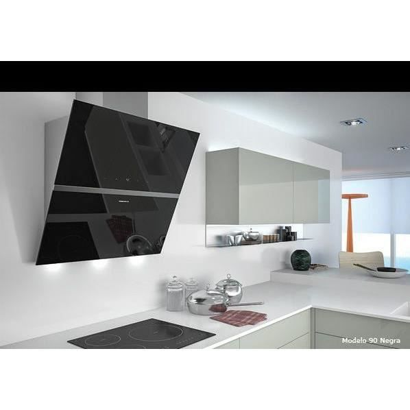 Hotte d corative murale urban diamond 60 noir achat - Hotte decorative noire 60 cm ...