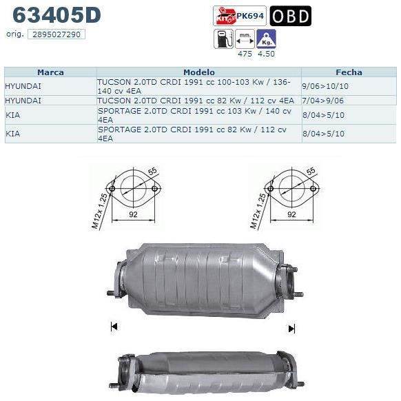 pot catalytique hyundai tucson magnaflow   vente