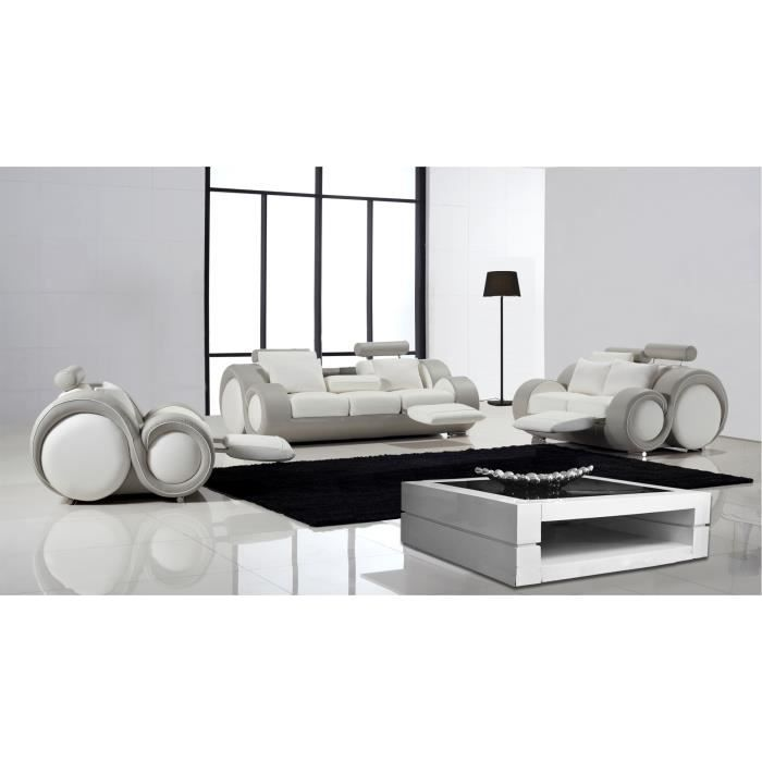 salon design cuir relax pierce canap 3 places 2 places fauteuil achat vente ensemble. Black Bedroom Furniture Sets. Home Design Ideas