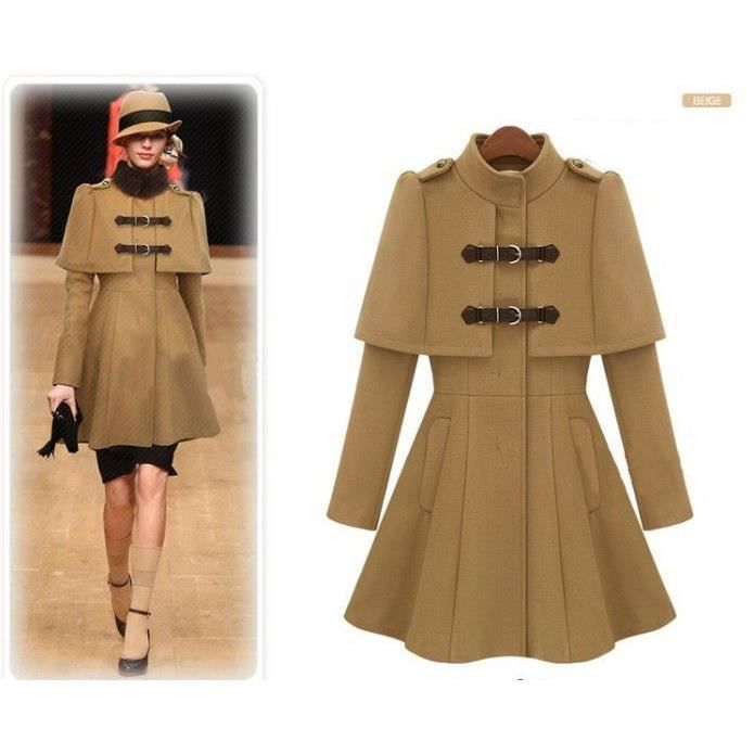 manteau veste cape ch le femme en laine a line beige achat vente manteau caban cdiscount. Black Bedroom Furniture Sets. Home Design Ideas