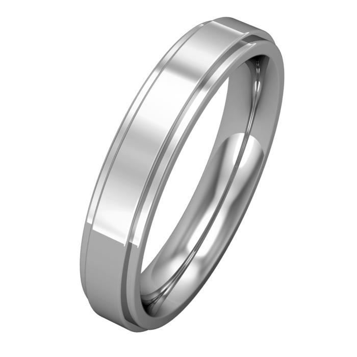 Jewelco London Platine mariage bague 4mm