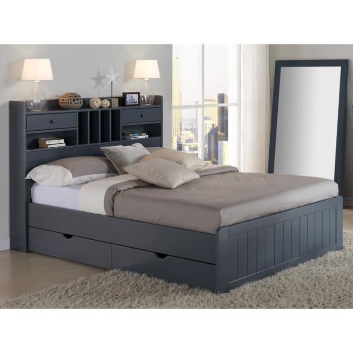 lit mederick avec rangements 140x190cm pin gris achat vente structure de lit lit. Black Bedroom Furniture Sets. Home Design Ideas