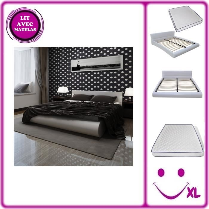 lit en simili cuir avec matelas m moire de forme 140x200cm blanc achat vente lit complet. Black Bedroom Furniture Sets. Home Design Ideas