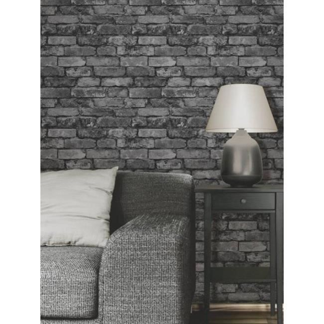 papier peint brique gris noir achat vente papier. Black Bedroom Furniture Sets. Home Design Ideas
