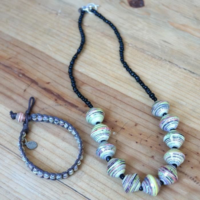 Womens Paper Bead Chunky Necklace And Wrap Bracelet - Green - Jewelry From Africa GYI49