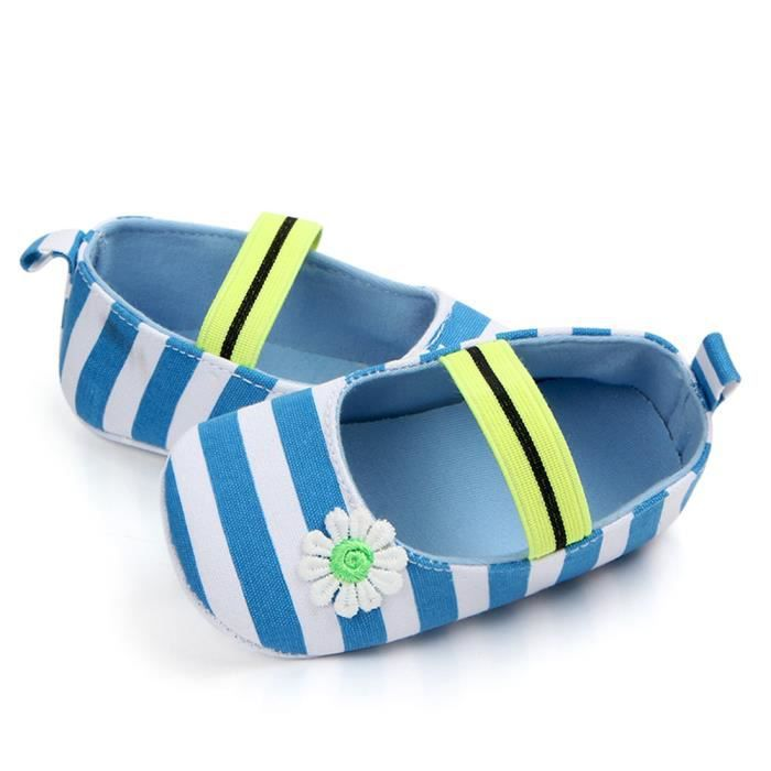Baby Flower Sole Girls Bb Souples slip Enfants Bleu Anti Chaussures Stripe nZqwx67Y