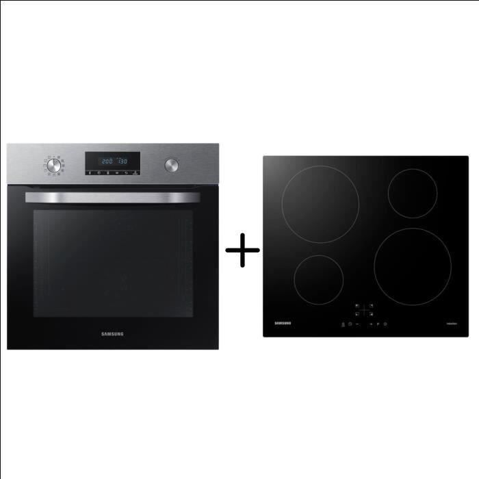 SAMSUNG NV68R3375BS Four dual Fan™ - Pyrolyse - 68L - A + SAMSUNG NZ64M3NM1BB/UR - Plaque de cuisson induction - Pack encastrable
