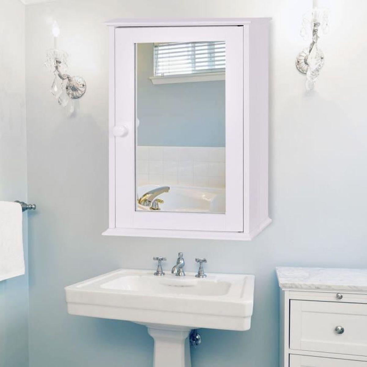 COSTWAY Meuble Salle de Bain Mural Armoire de Toilette avec Miroir
