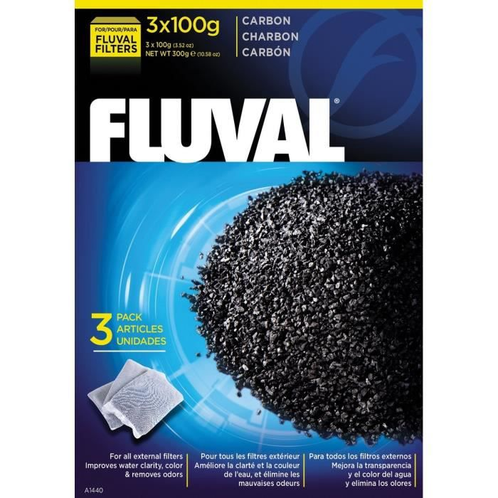 FLUVAL Lot de 3 charbons 100 g - Pour aquarium