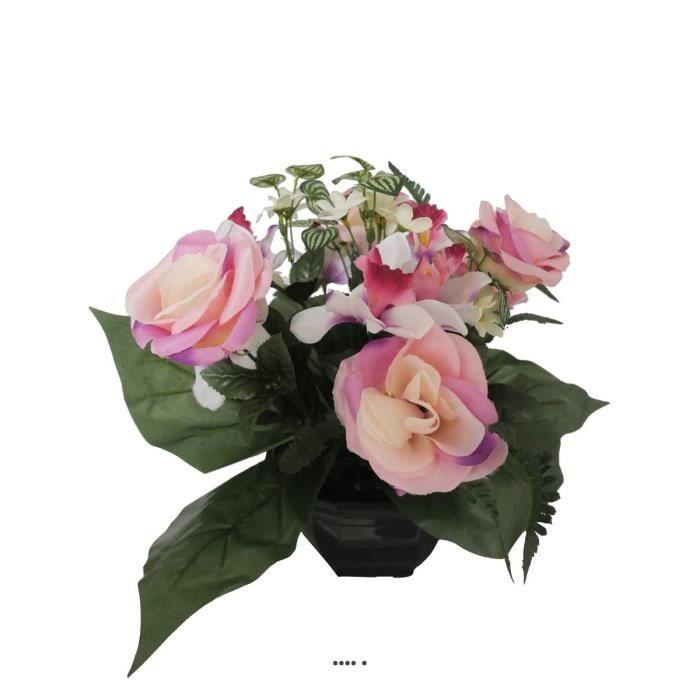 Composition vasque de roses et d'orchidées artificielles, lestée H 37 cm, D 30 cm Rose pâle