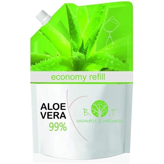100% Naturel Gel de Aloe Vera Hydratant Visage Corps Cheveux Après l'épilation 500 ML Recharge Économique