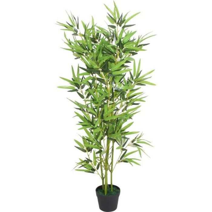 Plante artificielle-Arbre Artificiel Convient pour Intérieur ou Extérieur avec pot Bambou 120 cm Vert#9353