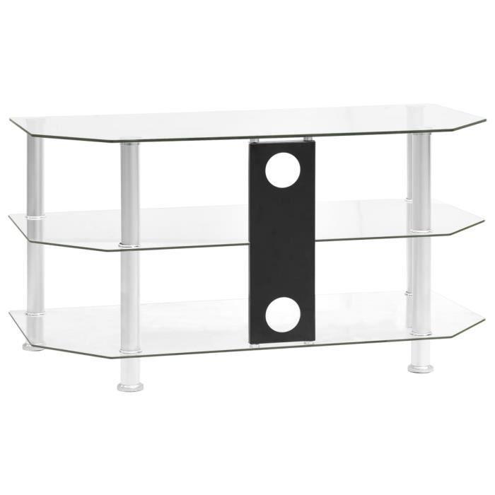 Meuble TV contemporain décor - MEUBLE HI-FI Table television -Banc TV SALON Transparent 96x46x50 cm Verre trempé♫7094