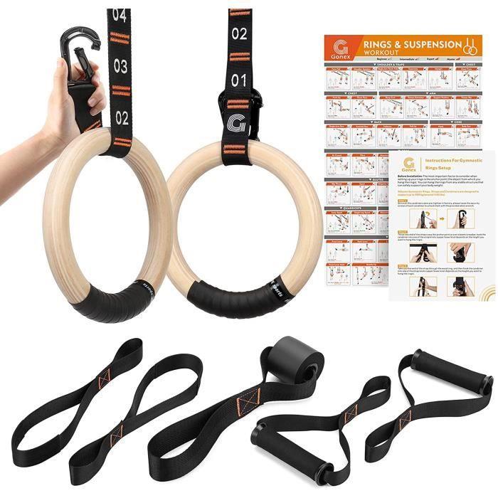Gymnastique Anneaux Bois avec Sangles Réglables Anneaux Gym 32mm Musculation Traction Crossfit Ring Exercice à Domicile