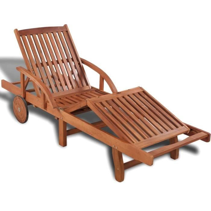 Chaise Longue Inclinable, Transat en Bois d'acacia solide de Jardin Blanc HB056