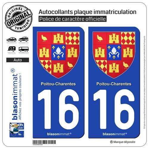 2 Autocollants plaque immatriculation Auto 16 Poitou-Charentes - Armoiries II