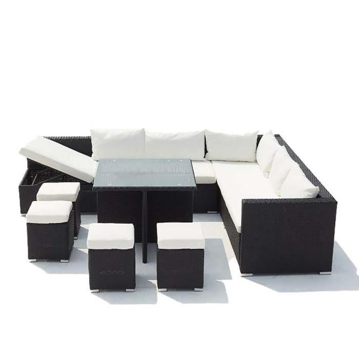 FIDJI - Salon de jardin encastrable en résine tressée 10 personnes Noir/Blanc