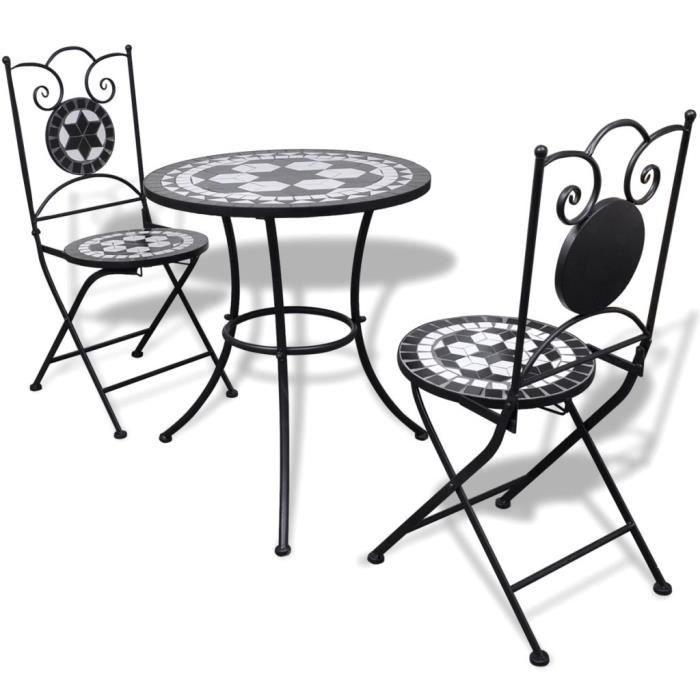Ensemble de Bistro Mosaïqué, Table de Jardin et 2 Chaises pour Bar Terrasse Balcon Noir Blanc