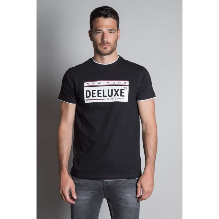 DEELUXE T-shirt double col logoté NASCENT Black