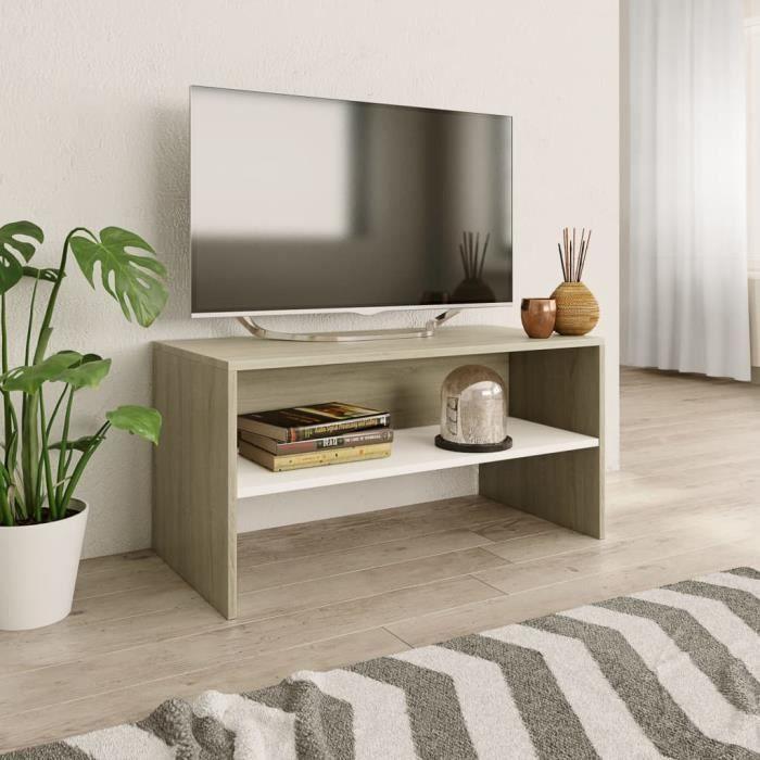 Meuble TV-scandinave contemporain Meuble de salon MEUBLE HI-FI Blanc et chêne sonoma 80 x 40 x 40 cm Aggloméré