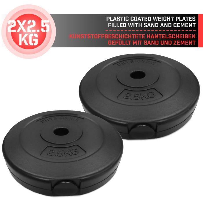 Physionics® Disques de Poids - Set de 2 x 2,5 kg, Ø 27mm, avec Revêtement en Plastique - Plaques pour Haltères, Fitness, Musculation