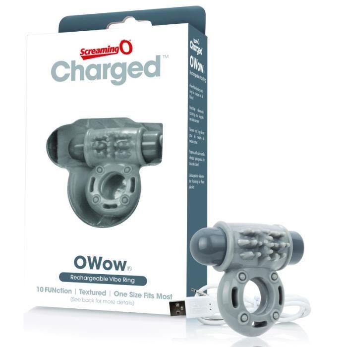 Anneau vibrant gris et 10 vitesses waterproof rechargeable USB Gris