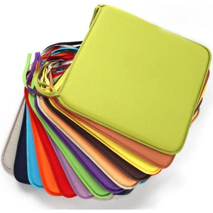 Coussinets d'assise de chaise carrée, Polyester amovible confortable Chaise de salle à manger Coussins galettes de, pour