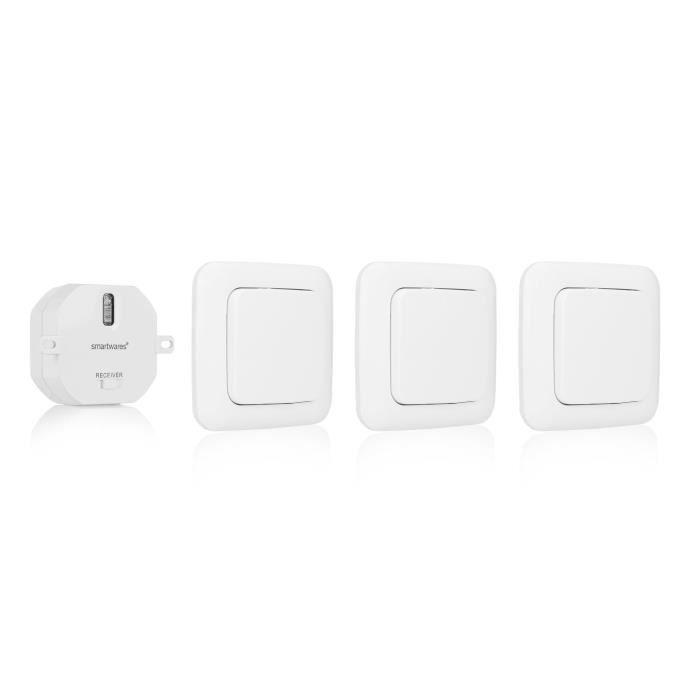 Kit domotique Interrupteur sans Fil - 3 Interrupteurs et 1 Récepteur encastrable - idéal pour Chambre à Coucher - Smartwares