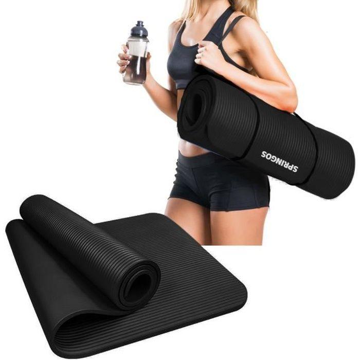 SPRINGOS® Tapis de yoga Tapis de fitness Tapis de gymnastique Tapis de sport Pilates Tapis de sol - Noir