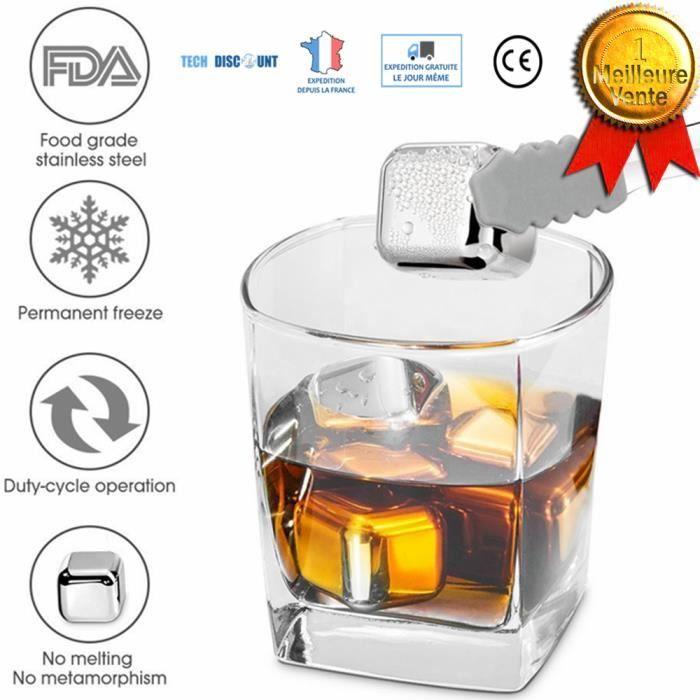 TD® Glaçons Ice Cubes Acier Inoxydable Réutilisable à Whisky Vodka bière vin blanc cocktails lot de 8 refroidissement très rapide