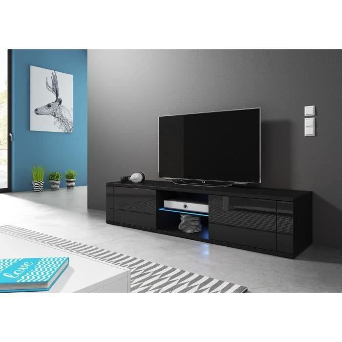 VIVALDI Meuble TV - HIT - 140 cm - noir mat / noir brillant avec LED - style design