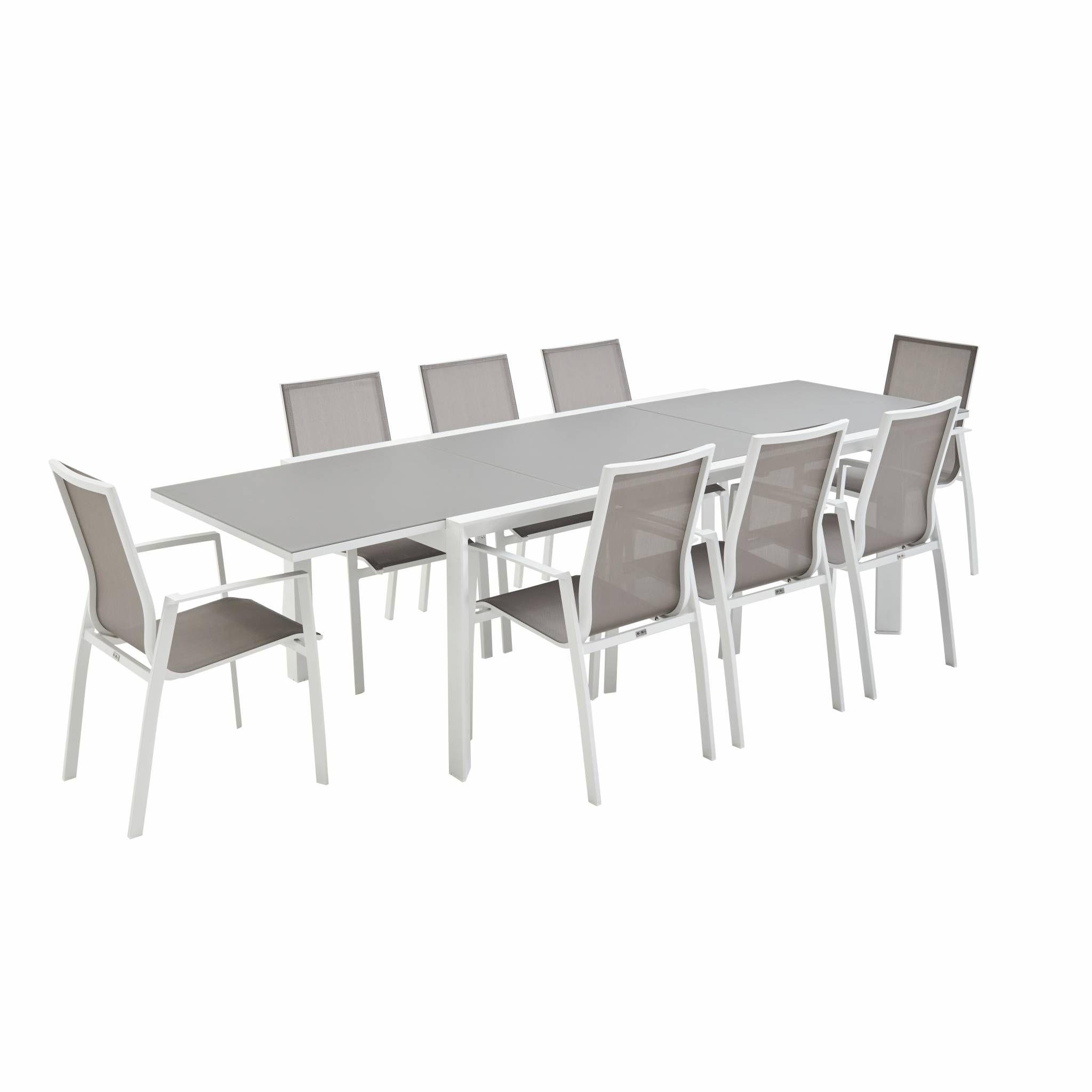 Salon de jardin table extensible - Washington Taupe - Table en aluminium  200/300cm, plateau en verre dépoli, rallonge et 8