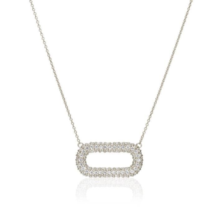 Argent Femmes Sterling Grand ouvert Pave ovale Collier N003569 - sil KC4LL