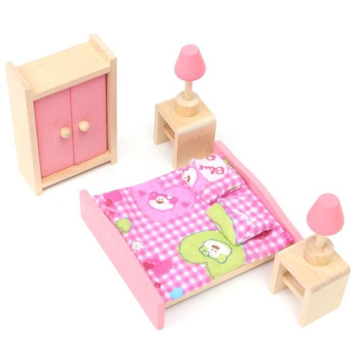 meuble poup e mobilier maison d ette bois jouet enfant barbie chambre coucher achat vente. Black Bedroom Furniture Sets. Home Design Ideas