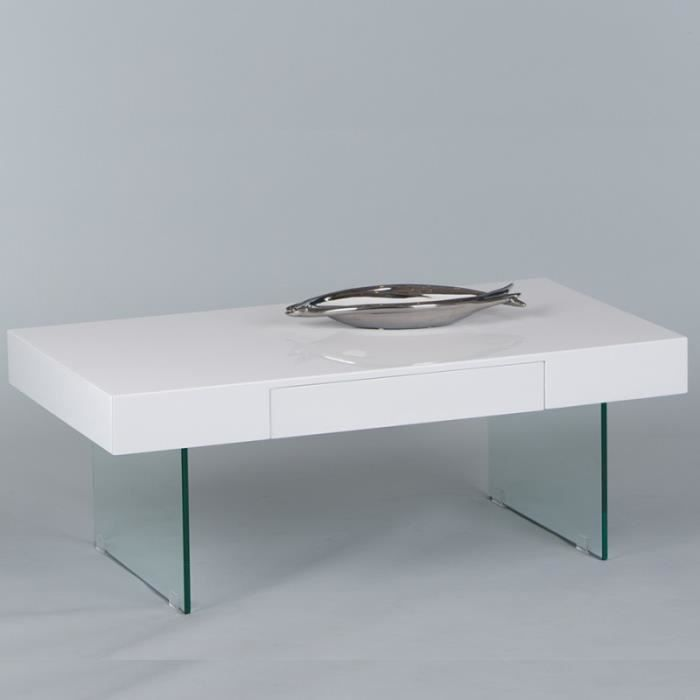 Table basse blanche laqu e design avec pied en verre for Table basse blanche design