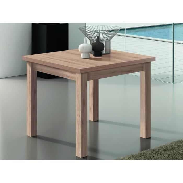 Table carr e extensible ch ne clair 90 180cm achat - Table extensible carree ...