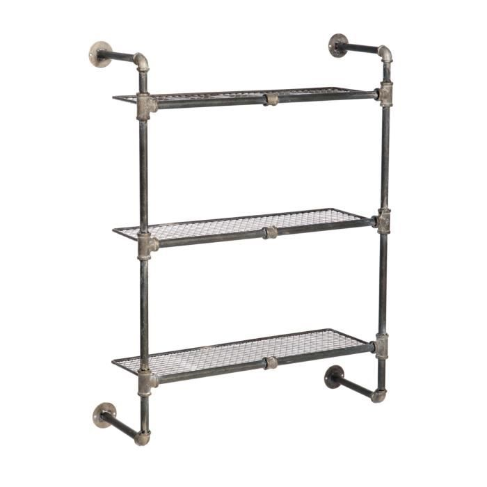 etagere neuve murale 3 etages en fer forge metal 88cm fixer deco loft industriel achat. Black Bedroom Furniture Sets. Home Design Ideas