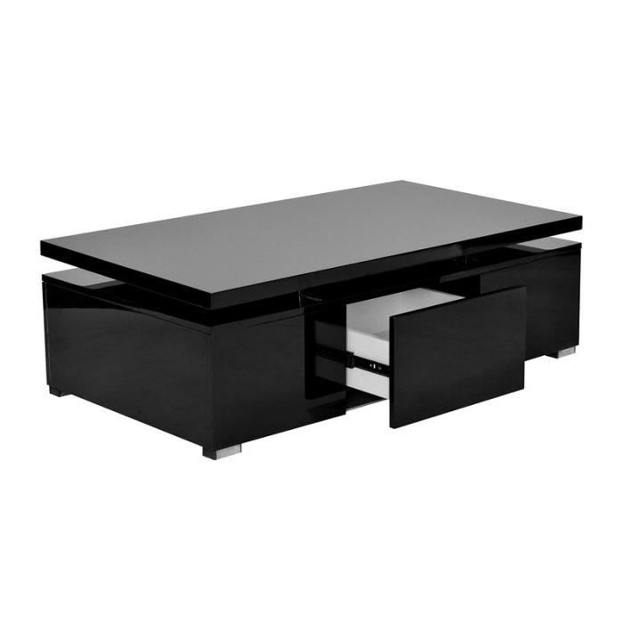 Table basse laqu noir plateau relevable design achat for Table basse scandinave plateau relevable