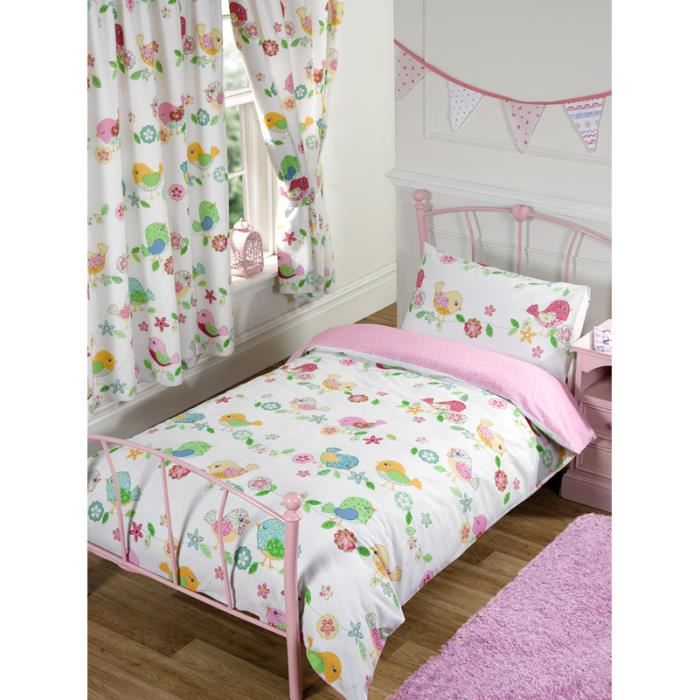 oiseaux parure de lit junior achat vente housse de couette cdiscount. Black Bedroom Furniture Sets. Home Design Ideas