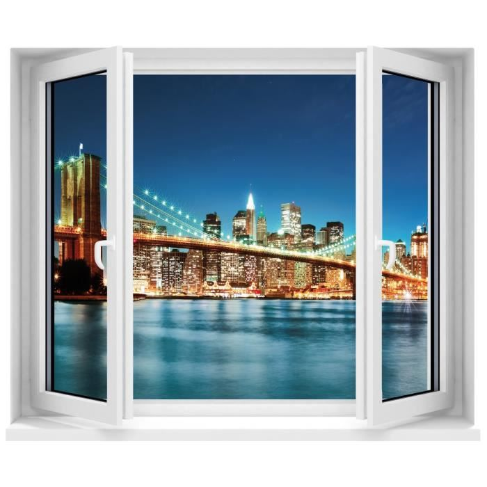 Stickers sticker trompe l oeil fen tre new york brooklyn for Stickers fenetre new york