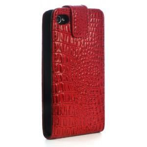 Housse clapet iphone 4s cuir croco rouge achat housse for Housse iphone 5 cuir